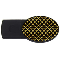 Scales1 Black Marble & Yellow Marble Usb Flash Drive Oval (4 Gb)