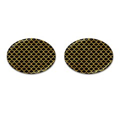 Scales1 Black Marble & Yellow Marble Cufflinks (oval) by trendistuff