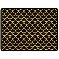 Scales1 Black Marble & Yellow Marble Fleece Blanket (large)
