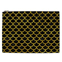 Scales1 Black Marble & Yellow Marble Cosmetic Bag (xxl)