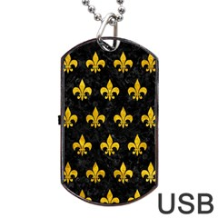 Royal1 Black Marble & Yellow Marble (r) Dog Tag Usb Flash (two Sides) by trendistuff