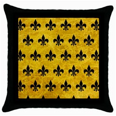 Royal1 Black Marble & Yellow Marble Throw Pillow Case (black) by trendistuff