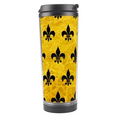 Royal1 Black Marble & Yellow Marble Travel Tumbler by trendistuff
