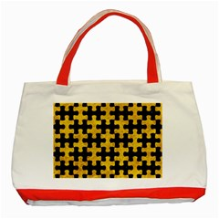 Puzzle1 Black Marble & Yellow Marble Classic Tote Bag (red) by trendistuff