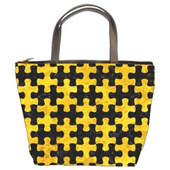 Puzzle1 Black Marble & Yellow Marble Bucket Bag by trendistuff