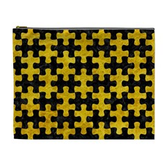 Puzzle1 Black Marble & Yellow Marble Cosmetic Bag (xl)