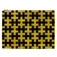 Puzzle1 Black Marble & Yellow Marble Cosmetic Bag (xxl)