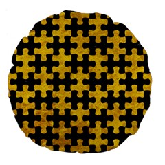 Puzzle1 Black Marble & Yellow Marble Large 18  Premium Flano Round Cushion  by trendistuff