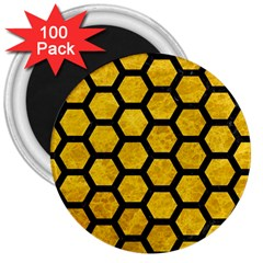 Hexagon2 Black Marble & Yellow Marble (r) 3  Magnet (100 Pack) by trendistuff