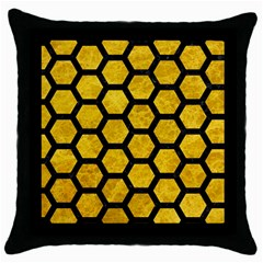 Hexagon2 Black Marble & Yellow Marble (r) Throw Pillow Case (black) by trendistuff