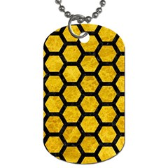 Hexagon2 Black Marble & Yellow Marble (r) Dog Tag (one Side) by trendistuff