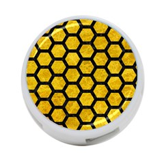 Hexagon2 Black Marble & Yellow Marble (r) 4 Port Usb Hub (two Sides) by trendistuff