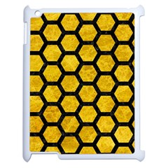 Hexagon2 Black Marble & Yellow Marble (r) Apple Ipad 2 Case (white) by trendistuff