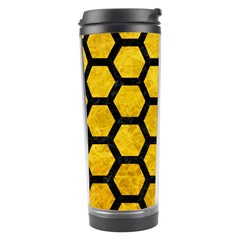 Hexagon2 Black Marble & Yellow Marble (r) Travel Tumbler by trendistuff