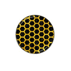 Hexagon2 Black Marble & Yellow Marble Hat Clip Ball Marker by trendistuff