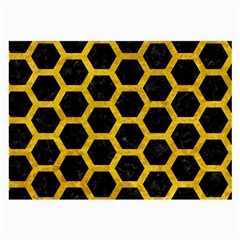 Hexagon2 Black Marble & Yellow Marble Large Glasses Cloth (2 Sides) by trendistuff