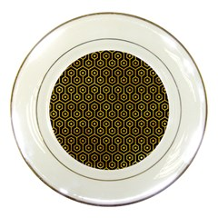 Hexagon1 Black Marble & Yellow Marble Porcelain Plate by trendistuff