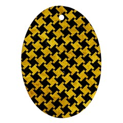 Houndstooth2 Black Marble & Yellow Marble Ornament (oval)
