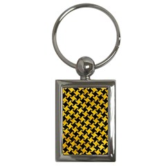 Houndstooth2 Black Marble & Yellow Marble Key Chain (rectangle) by trendistuff