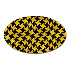 Houndstooth2 Black Marble & Yellow Marble Magnet (oval)