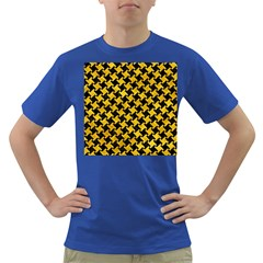 Houndstooth2 Black Marble & Yellow Marble Dark T Shirt by trendistuff