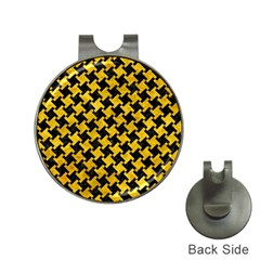 Houndstooth2 Black Marble & Yellow Marble Golf Ball Marker Hat Clip by trendistuff