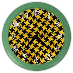 Houndstooth2 Black Marble & Yellow Marble Color Wall Clock by trendistuff