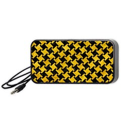 Houndstooth2 Black Marble & Yellow Marble Portable Speaker (black) by trendistuff