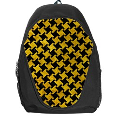 Houndstooth2 Black Marble & Yellow Marble Backpack Bag by trendistuff
