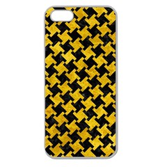 Houndstooth2 Black Marble & Yellow Marble Apple Seamless Iphone 5 Case (clear) by trendistuff