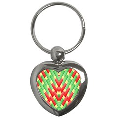 Christmas Geometric 3d Design Key Chains (heart)  by Amaryn4rt