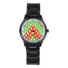 Christmas Geometric 3d Design Stainless Steel Round Watch by Amaryn4rt