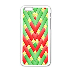 Christmas Geometric 3d Design Apple Iphone 6/6s White Enamel Case by Amaryn4rt