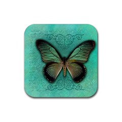 Butterfly Background Vintage Old Grunge Rubber Coaster (square)  by Amaryn4rt