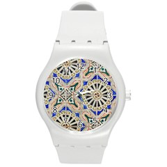 Ceramic Portugal Tiles Wall Round Plastic Sport Watch (m)
