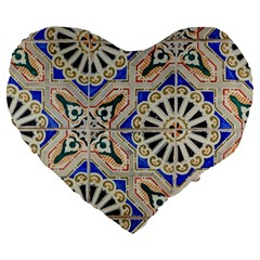 Ceramic Portugal Tiles Wall Large 19  Premium Flano Heart Shape Cushions