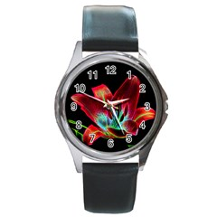 Flower Pattern Design Abstract Background Round Metal Watch