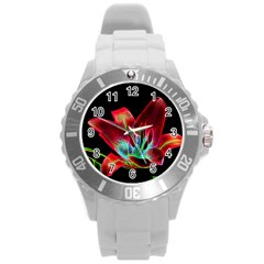Flower Pattern Design Abstract Background Round Plastic Sport Watch (l)