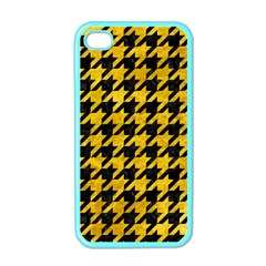 Houndstooth1 Black Marble & Yellow Marble Apple Iphone 4 Case (color) by trendistuff