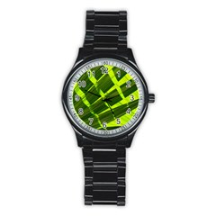 Frond Leaves Tropical Nature Plant Stainless Steel Round Watch