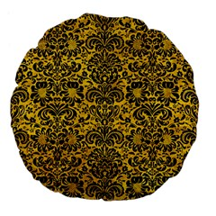 Damask2 Black Marble & Yellow Marble (r) Large 18  Premium Flano Round Cushion  by trendistuff