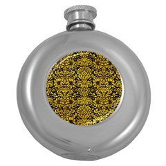 Damask2 Black Marble & Yellow Marble Hip Flask (5 Oz) by trendistuff