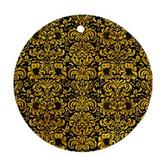 Damask2 Black Marble & Yellow Marble Round Ornament (two Sides) by trendistuff