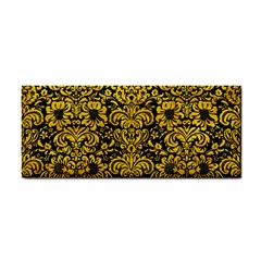 Damask2 Black Marble & Yellow Marble Hand Towel by trendistuff