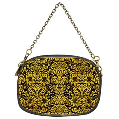 Damask2 Black Marble & Yellow Marble Chain Purse (one Side) by trendistuff
