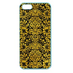 Damask2 Black Marble & Yellow Marble Apple Seamless Iphone 5 Case (color) by trendistuff