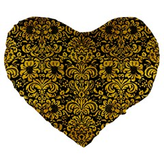 Damask2 Black Marble & Yellow Marble Large 19  Premium Flano Heart Shape Cushion by trendistuff