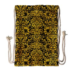 Damask2 Black Marble & Yellow Marble Drawstring Bag (large) by trendistuff