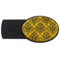 Damask1 Black Marble & Yellow Marble (r) Usb Flash Drive Oval (2 Gb) by trendistuff
