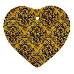 Damask1 Black Marble & Yellow Marble (r) Heart Ornament (two Sides) by trendistuff
